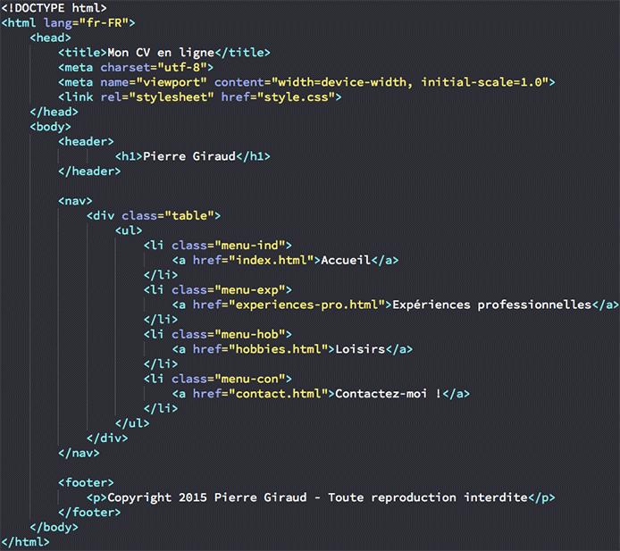 cr u00e9ation de la structure de notre site personnel en html et css
