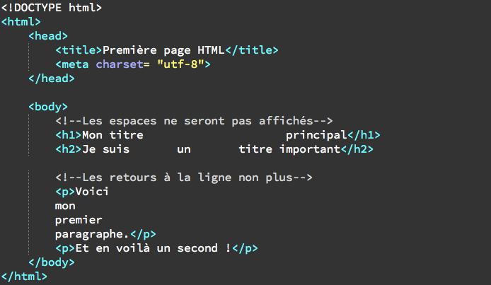 cr u00e9er des espaces et des retours  u00e0 la ligne en html