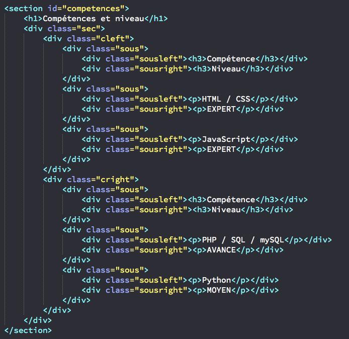 cr u00e9ation de la page index de notre site html et css