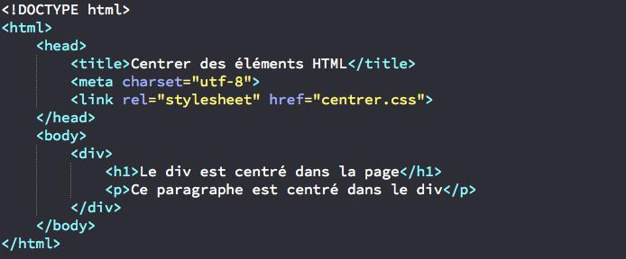 Centrer horizontalement un l ment html gr ce au css - Html css div ...