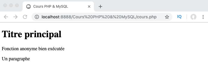 Exemple de fonction anonyme auto invoquée en PHP