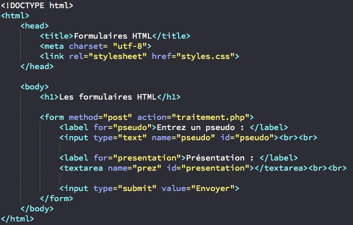 Création d'un premier formulaire simple en HTML