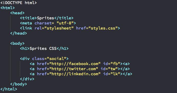 Création de liens en HTML pour utilisation de sprites CSS