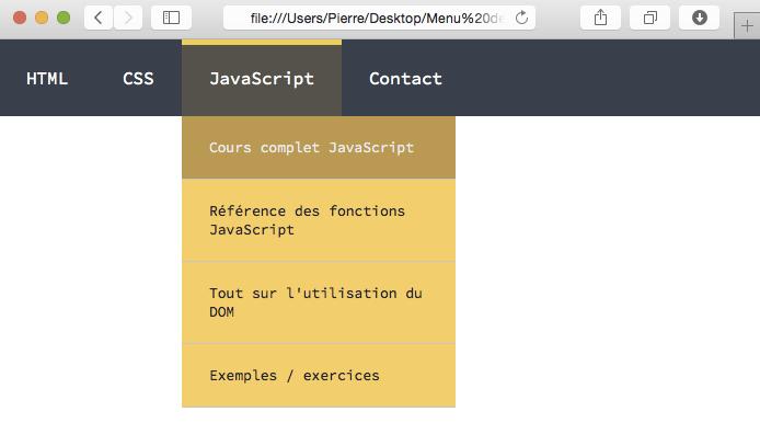 cr u00e9ation d u0026 39 un menu d u00e9roulant en html et en css