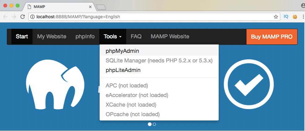 On accède à phpmyadmin depuis la page d'accueil de mamp ou wamp