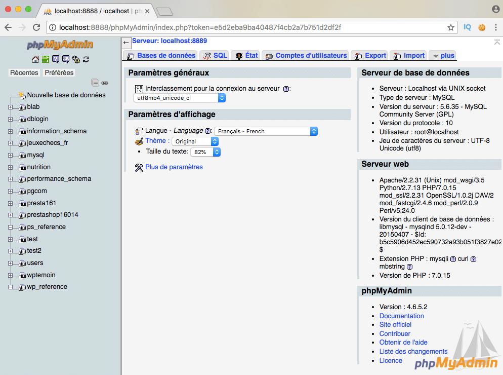 Page d'accueil de phpmyadmin et liste des bases de données créées