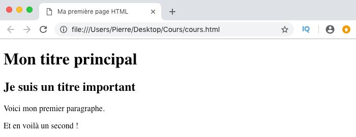 Résultat visuel élément p paragraphe HTML
