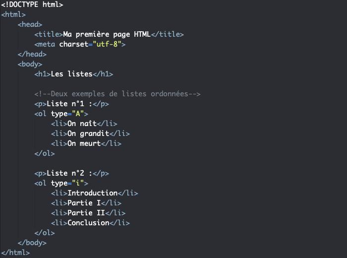 L'attribut type des listes ordonnées en HTML