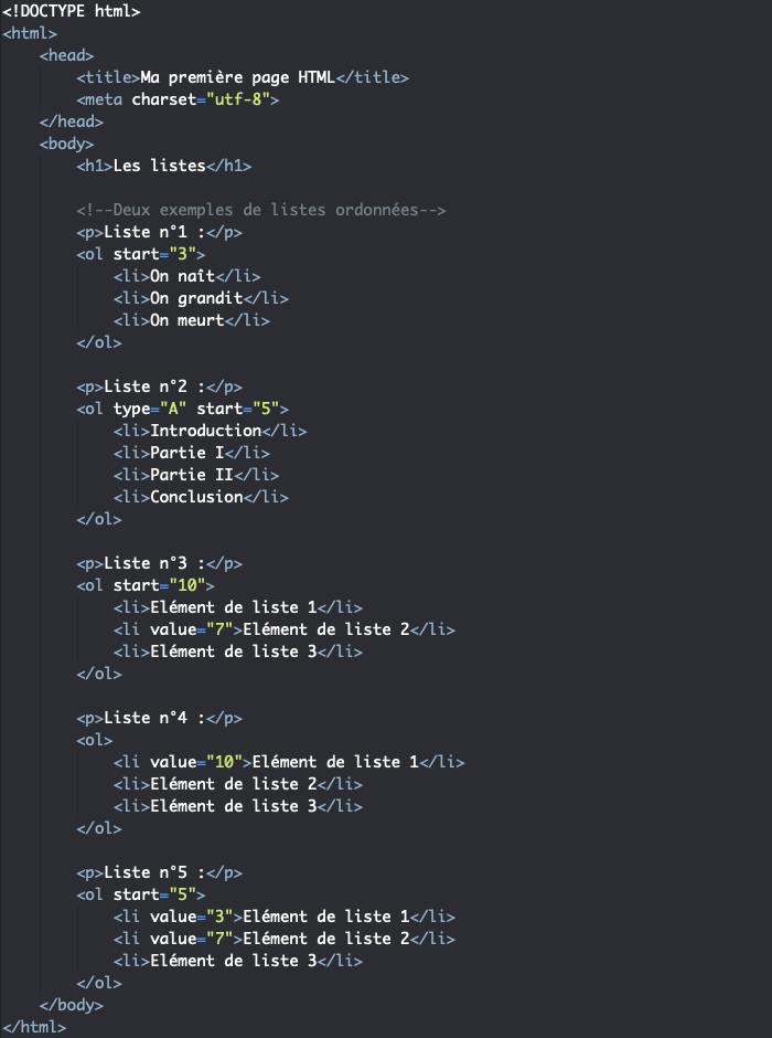 Utilisation des attributs start et value HTML