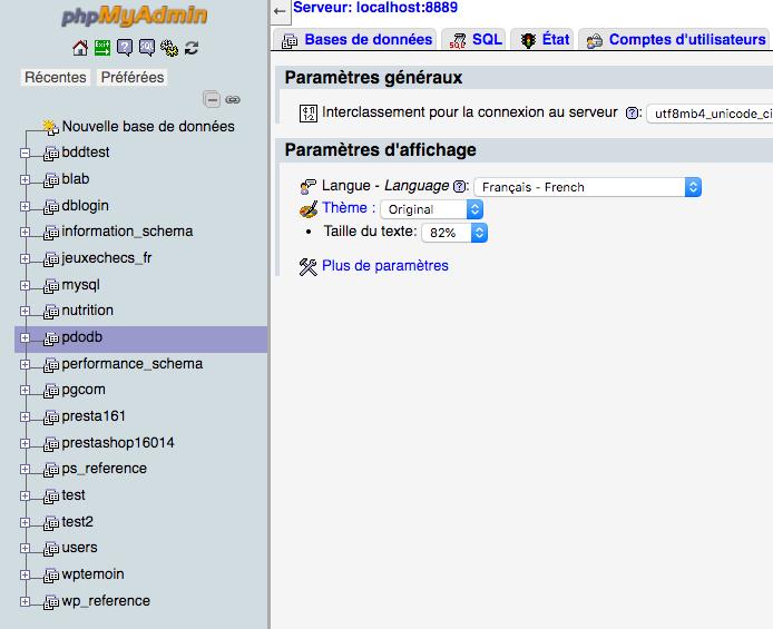 On vérifie dans phpmyadmin que notre base mysql ait bien été créée avec pdo en php