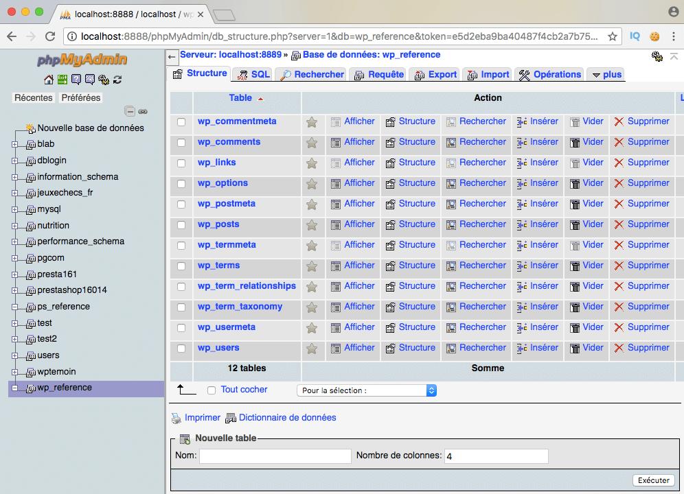 Structure d'une base de données wordpress et tables