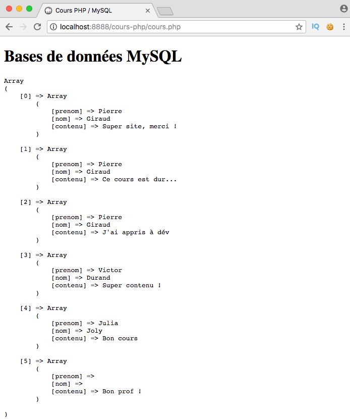 Exemple de création d'un left outer join SQL avec PDO PHP