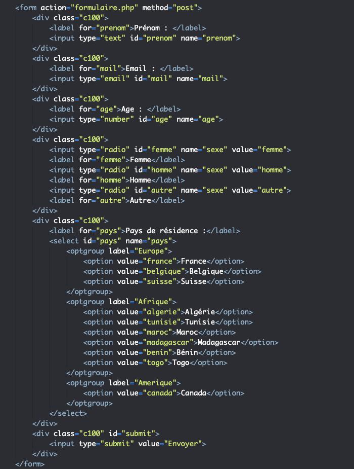 Code HTML support pour manipulation des données des formulaires en PHP