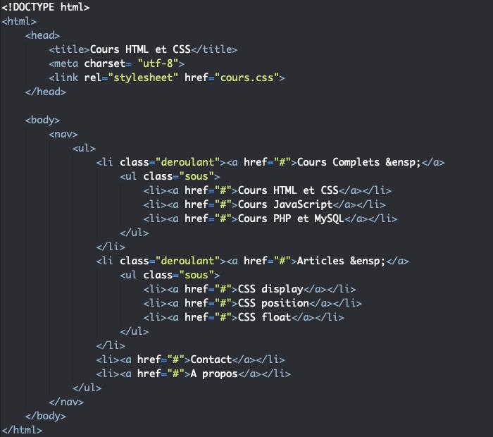 Squelette HTML menu déroulant HTML et CSS liste et sous liste imbriquée