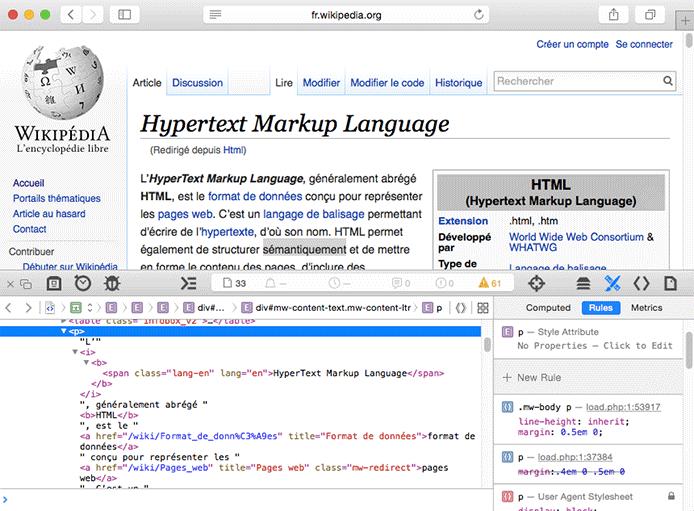 Affichage du code HTML dans la console du navigateur