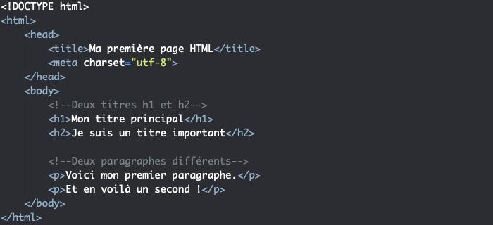 Syntaxe d'un commentaire HTML