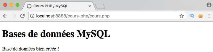 Exemple de script de connexion et de création d'une base de données MySQL avec PDO PHP