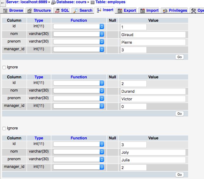 Création d'une table MySQL avec phpMyAdmin et insertion de données dedans 3