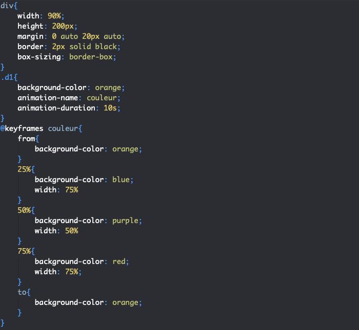 Définition keyframes animation CSS avec from to et valeurs intermédiaires