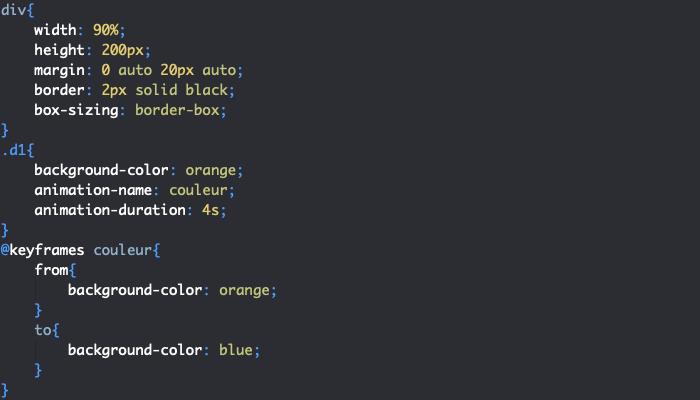 Utilisation de la règle CSS keyframes pour créer des animations