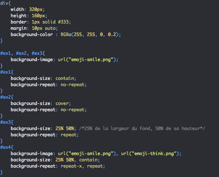 On utilise la propriété CSS background-size pour gérer la taille des images de fond