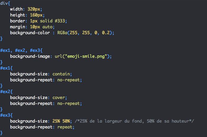 On utilise la propriété CSS background-size pour gérer la taille de l'image de fond