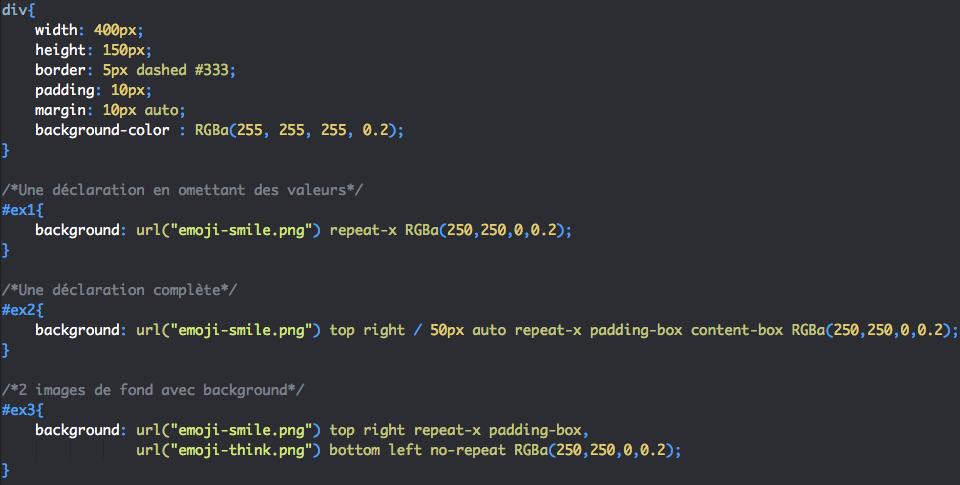 Utilisation de la propriété CSS background