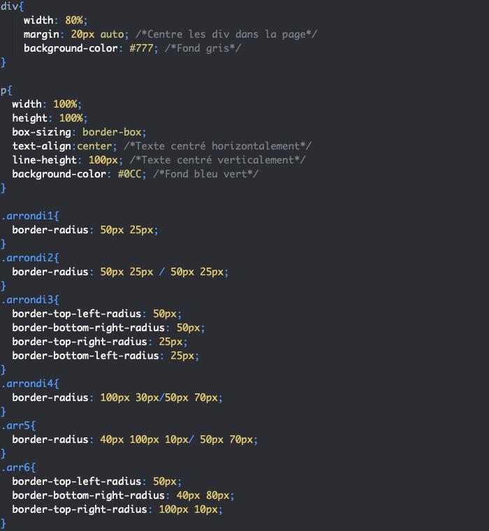 La propriété CSS border-radius nous permet de définir des bordures arrondies différentes par côté
