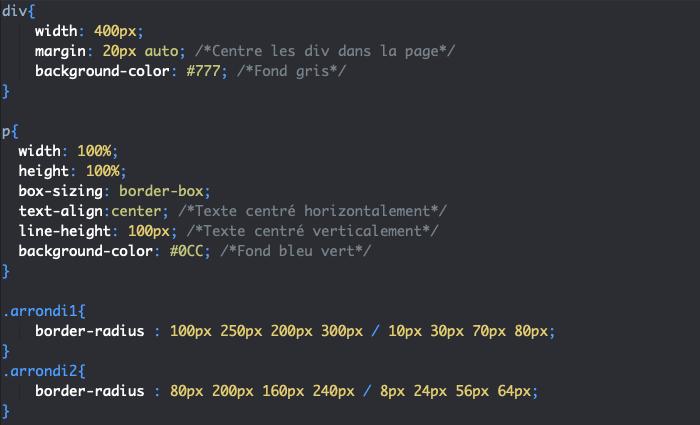 Passage de valeurs aberrantes à border-radius en CSS