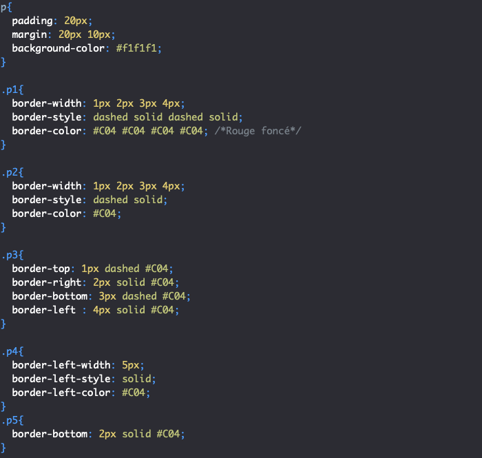 Création de bordures différentes avec border top right bottom left en CSS
