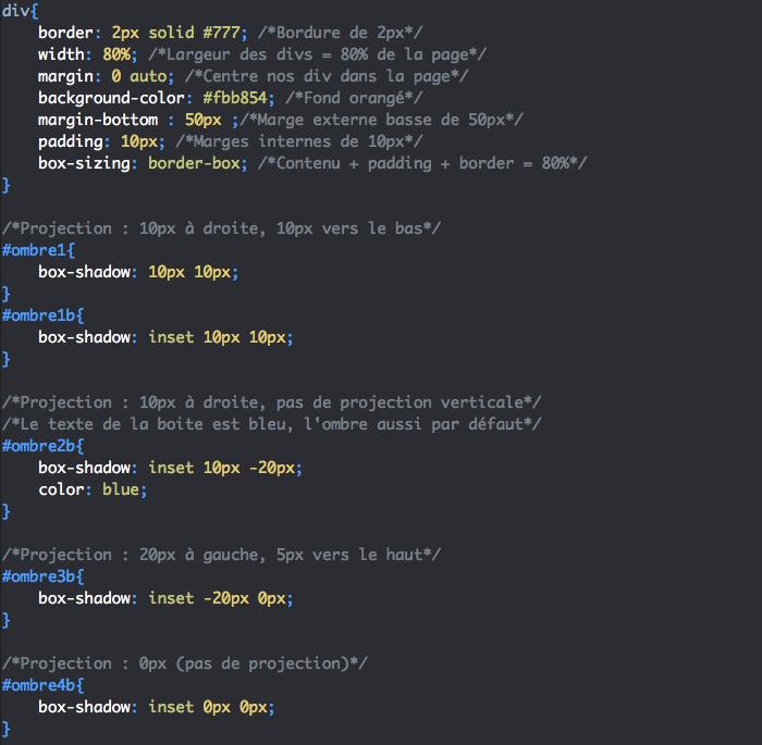 On peut créer une ombre interne avec la valeur inset de box-shadow en CSS