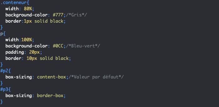 Utilisation de box-sizing en CSS pour déterminer la boite de référence