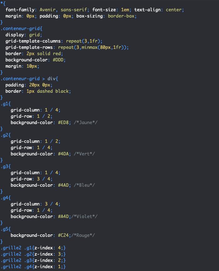 On utilise la propriété CSS z-index pour définir l'ordre des éléments d'une grille CSS