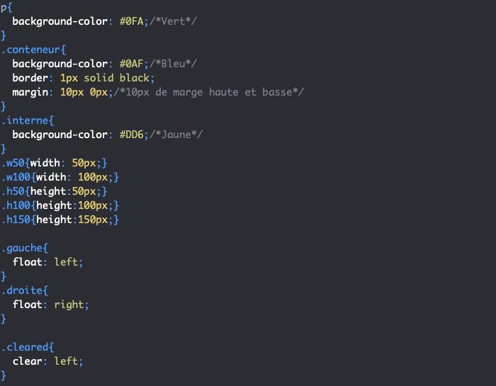 Utilisation de clear en CSS pour annuler un flottement