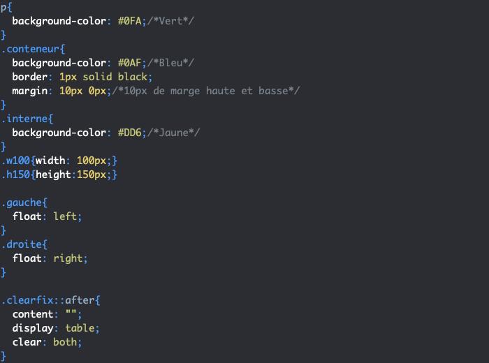 Définition et utilisation d'un clearfix CSS avec clear display et content