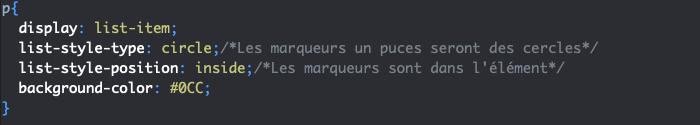 Utilisation de la valeur list-item de la propriété CSS display