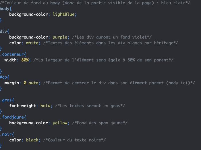 Application de styles CSS aux attributs class et id des éléments div et span