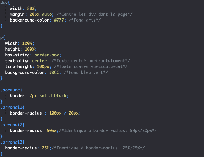 On utilise border-radius en CSS pour créer des bordures arrondies