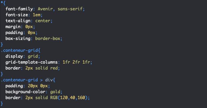 Exemple de création d'une grille CSS avec display grid