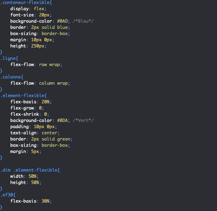 On utilise la propriété CSS flex-basis pour définir une taille de base pour nos éléments flexibles