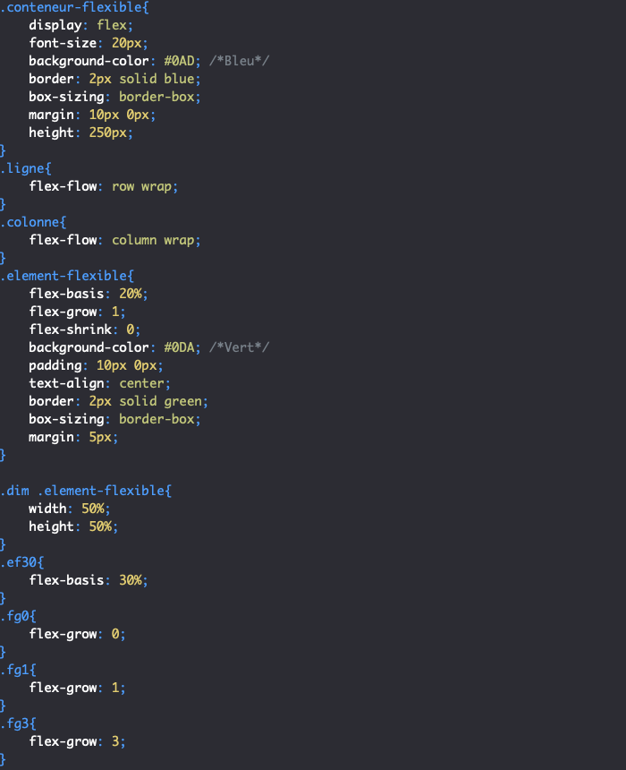 On utilise la propriété CSS flex-grow pour indiquer si nos éléments flexibles peuvent grossir pour occuper l'espace restant dans le conteneur flexbox