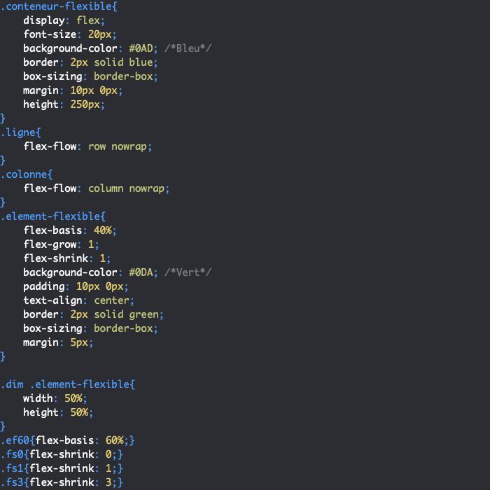 On utilise la propriété CSS flex-shrink pour indiquer si nos éléments flexibles peuvent rétrécir pour libérer de l'espace dans le conteneur flexbox
