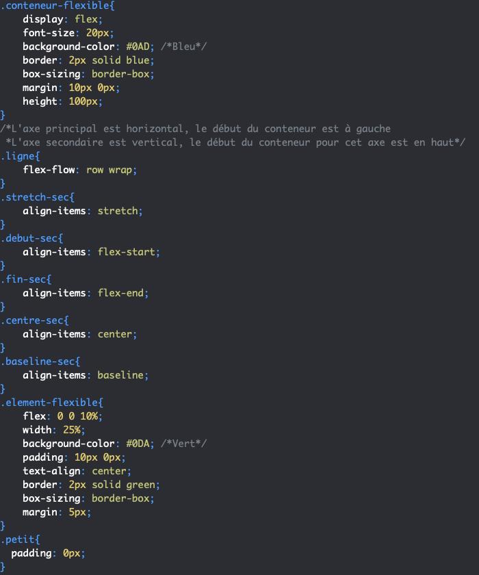 Utilisation de CSS align-items pour gérer l'alignement des éléments selon l'axe secondaire par ligne ou par colonne