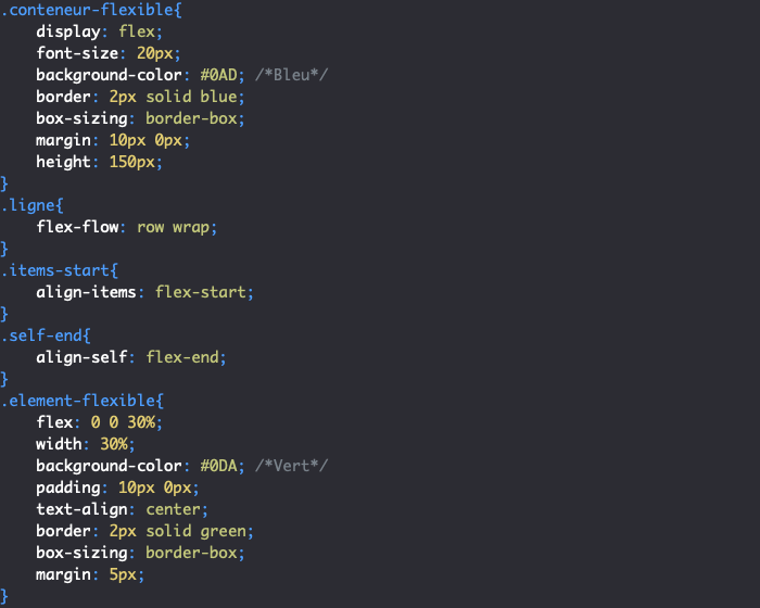 Utilisation de CSS align-self pour gérer l'alignement d'un élément en particulier selon son axe secondaire