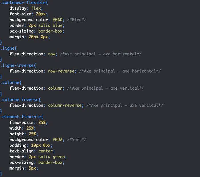On utilise la propriété CSS flex-direction pour définir la direction des éléments flexibles