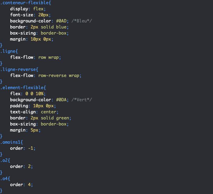 On utilise la propriété CSS order dans un modèle flex pour gérer l'ordre des éléments flexibles