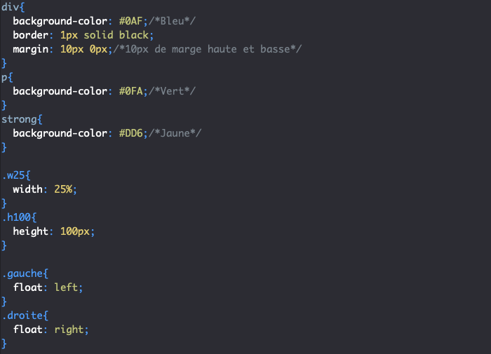Utilisation de float left et float right en CSS