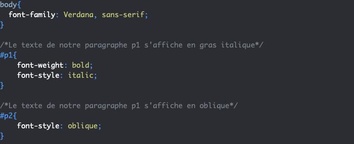 Utilisation de la propriété CSS font-style