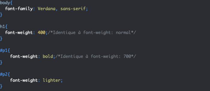 Utilisation de la propriété CSS font-weight