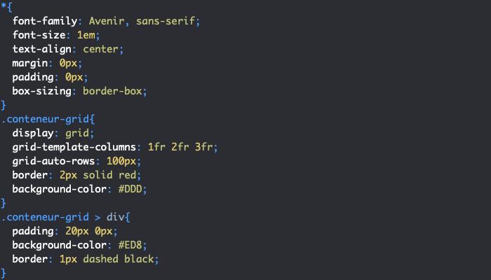 Exemple d'utilisation de display grid et de grid-auto-rows et grid-auto-columns